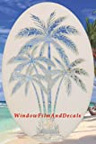 "Oval Palm Tree Etched Window Decal Vinyl Glass Cling - White with Clear Design Elements (26"" x 41"")"