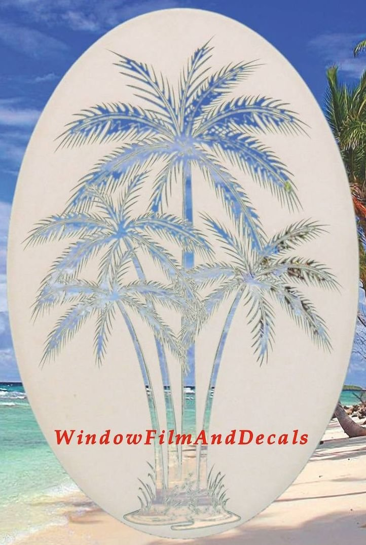 Oval Palm Tree Etched Window Decal Vinyl Glass Cling - 15'' x 23'' - White with Clear Design Elements