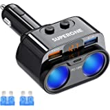 SUPERONE 200W 2-Socket Cigarette Lighter Splitter Power Adapter, USB C Car Charger with 18W Power Delivery 3.0 & Quick Charge