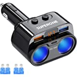SUPERONE 200W 2-Socket Cigarette Lighter Splitter Power Adapter, USB C Car Charger with 18W Power Delivery 3.0 & Quick…