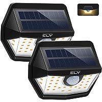 Luz Solar Exterior CLY 3000K,Aplique Solar 30 LED Blanco Cálido,foco Solar Con Sensor de Movimiento 450LM,Ángulo de luz 200ºImpermeable IP65 para Jardín, Patio,Camino[2 Paquete]