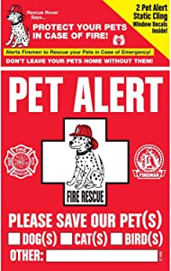 PET SAFETY ALERT 234001 2-Count Static Cling Window Decal for Pets
