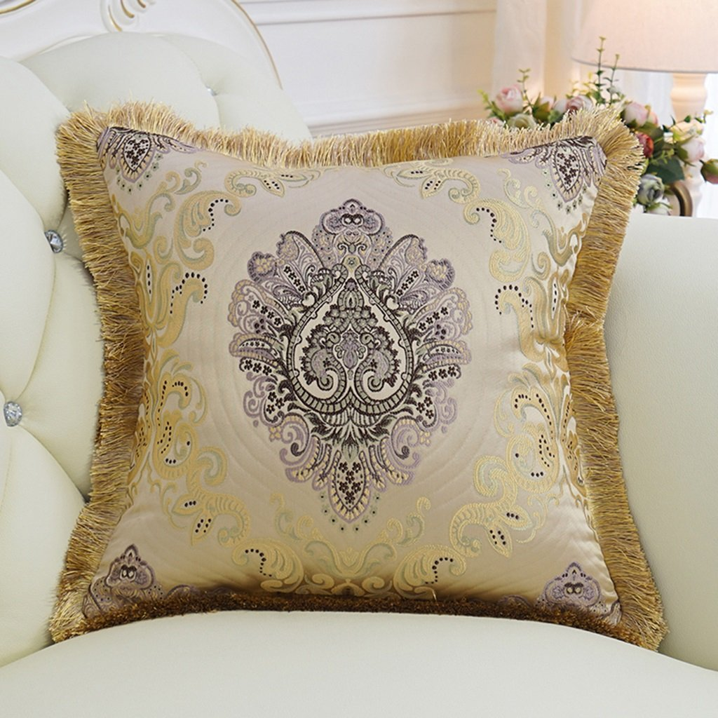 ZUOANCHEN Cushion Luxurious Palace Satin Jacquard Hanging Pillows, Fringed-Edged Decorative Cushions, Exquisite Embroidery Jacquard with Pillows 4545CM (Color : B)