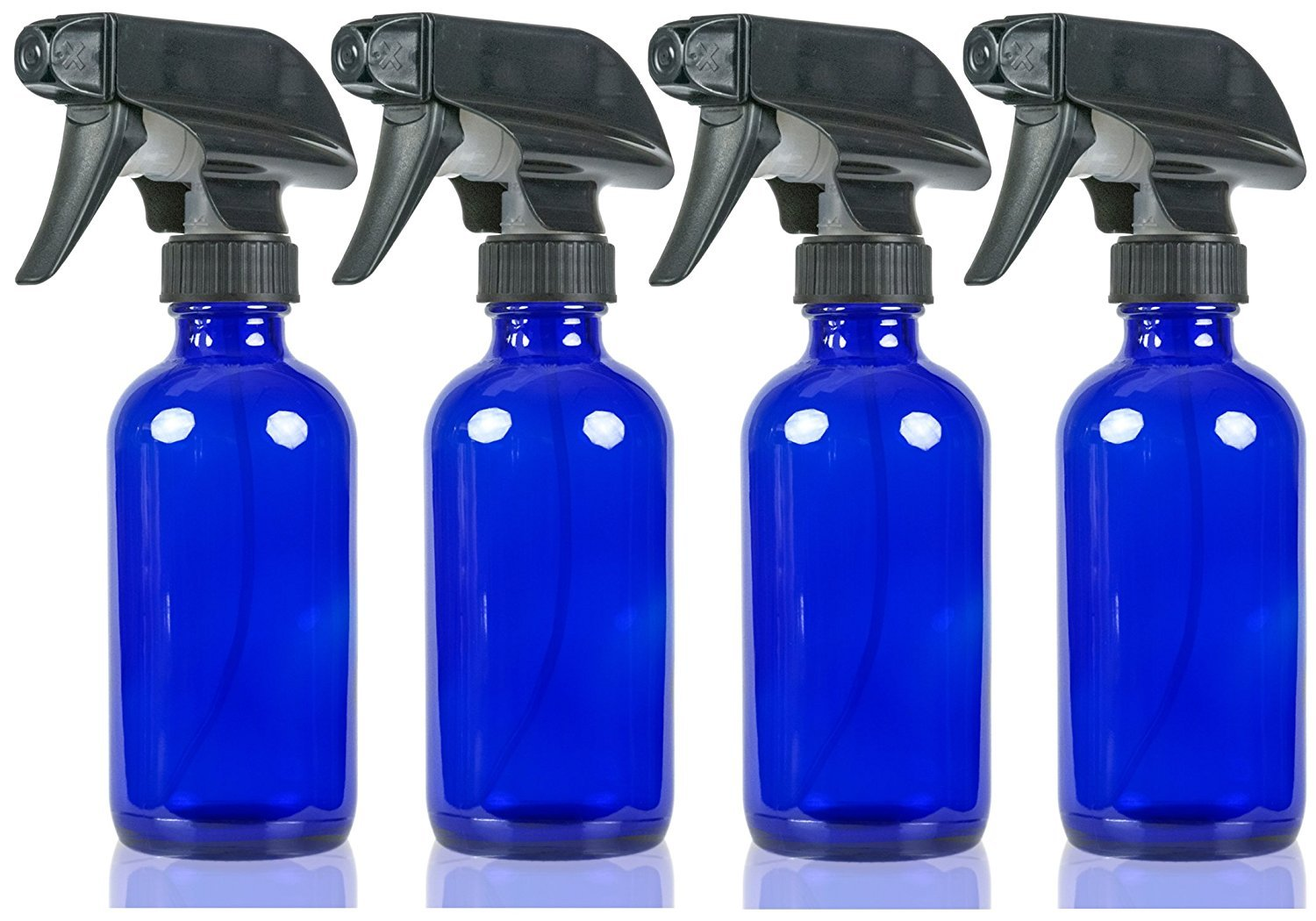 Large 8 oz Cobalt Blue Glass Spray Bottles with Chalkboard Labels (4 Pack), BPA Free for Essential Oils, Aromatherapy and Natural Cleaning Products. Heavy Duty Fine Mist Spray and Stream Trigger Sprayers Grace