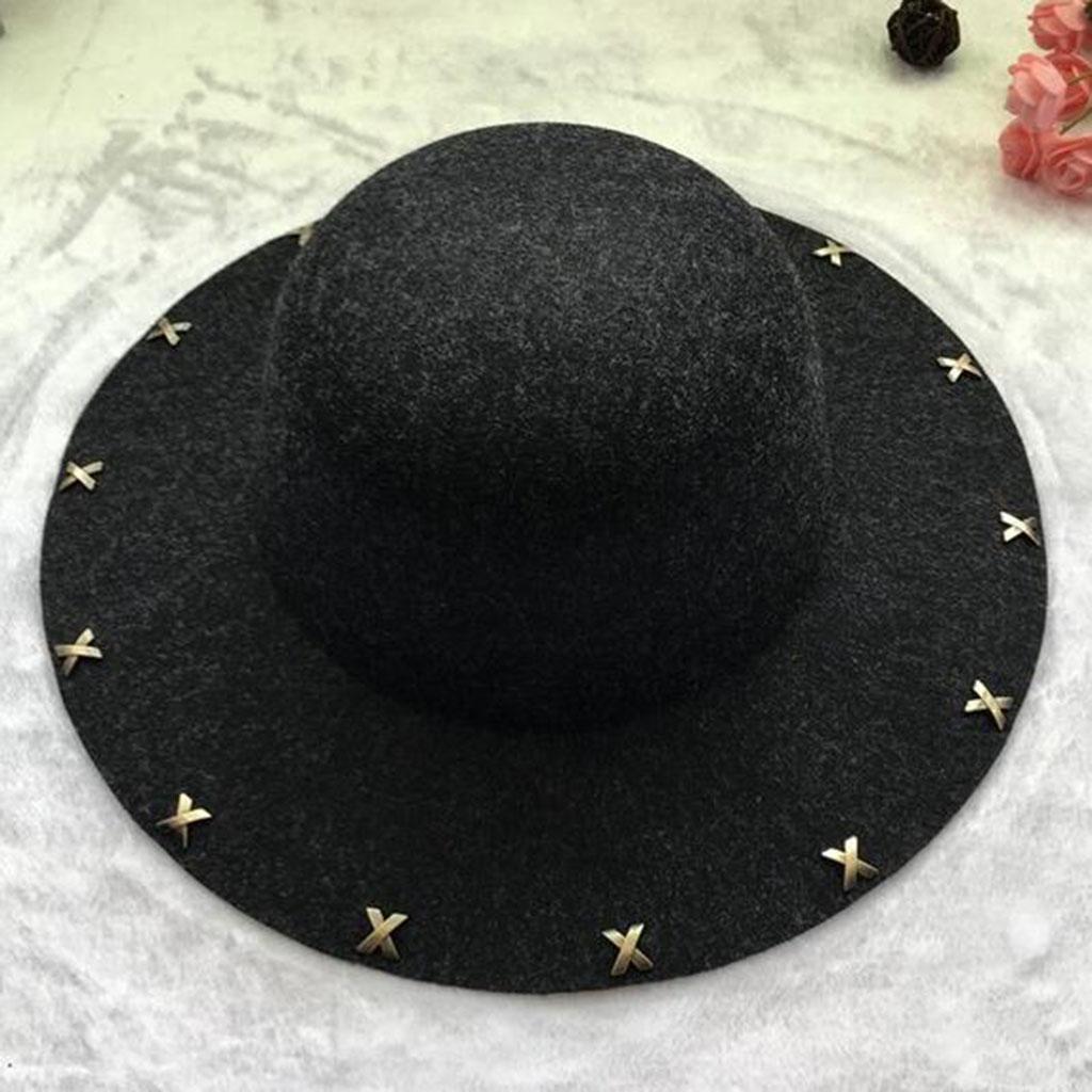 Moda temperamento Otoño e invierno Cúpula sombrero para el sol Retro Mujer Sombrero grande , black