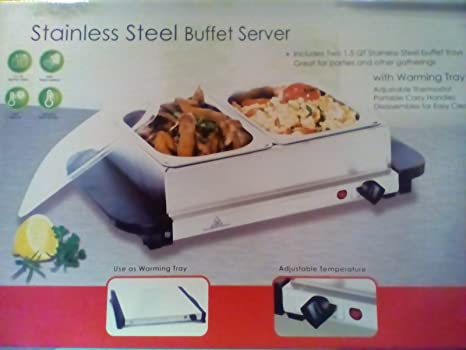 Amazon Com Stainless Steel Buffet Server 2 X 1 5 Qt Kitchen Dining