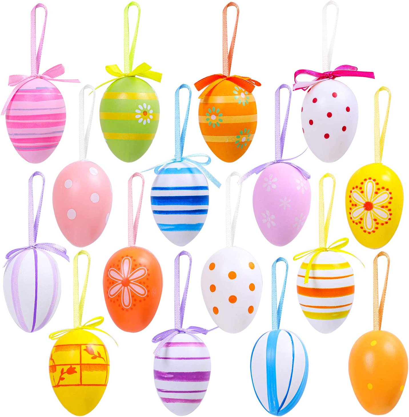 Elcoho 16 Pieces Easter Hanging Eggs Colorful Plastic Easter Eggs Easter Hanging Ornaments Easter Decoration, Random Styles