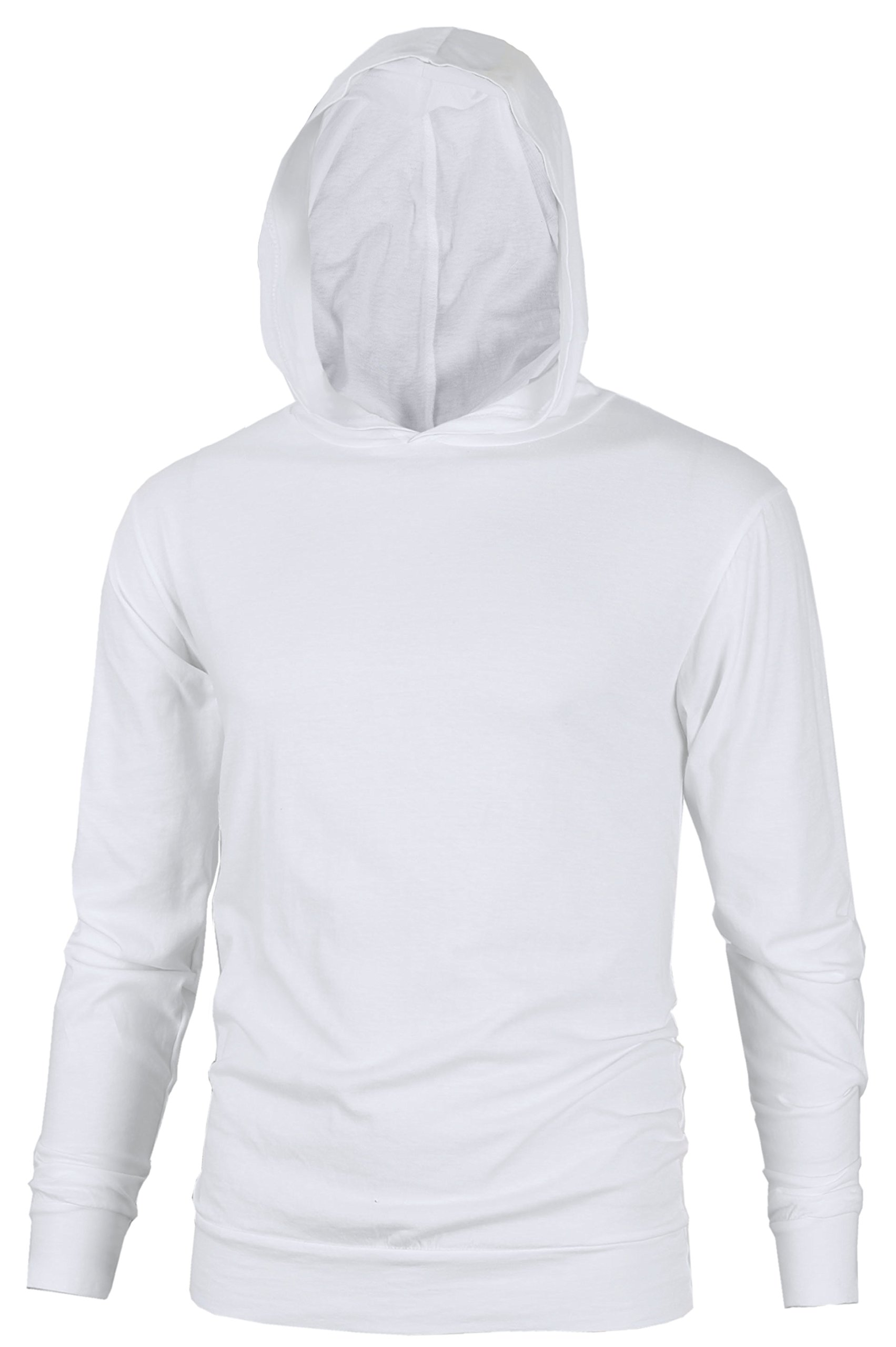 MAJECLO Mens Lightweight Cotton Pullover Long Sleeve Hoodie Sweatshirt(Large,White)