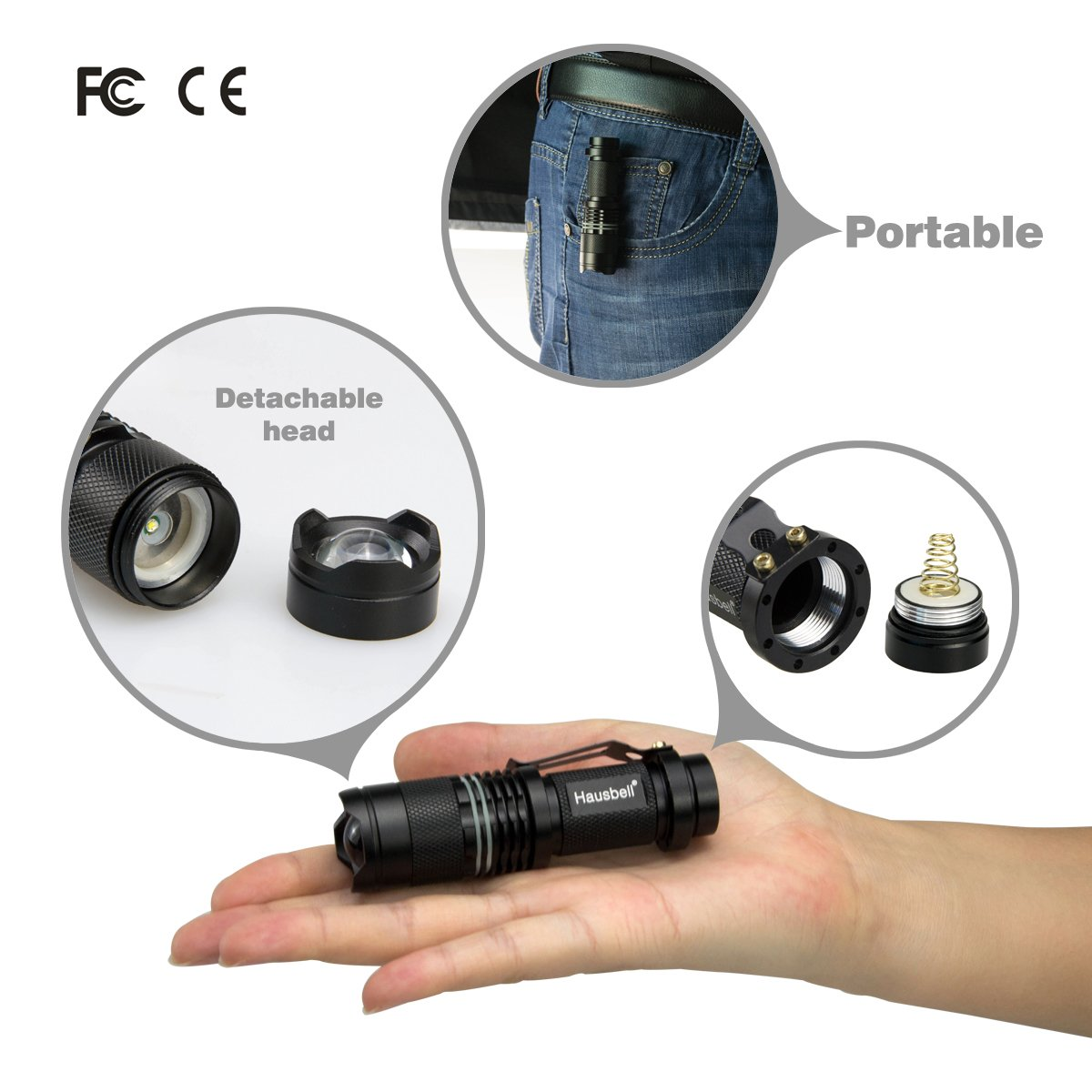 Hausbell 7W Mini LED Flashlight (6 Pack) by Hausbell (Image #4)