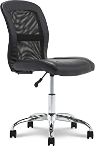 Serta Essentials Ergonomic Armless Low-Back Computer Swivel Task Chair, Faux Leather and Mesh, Black