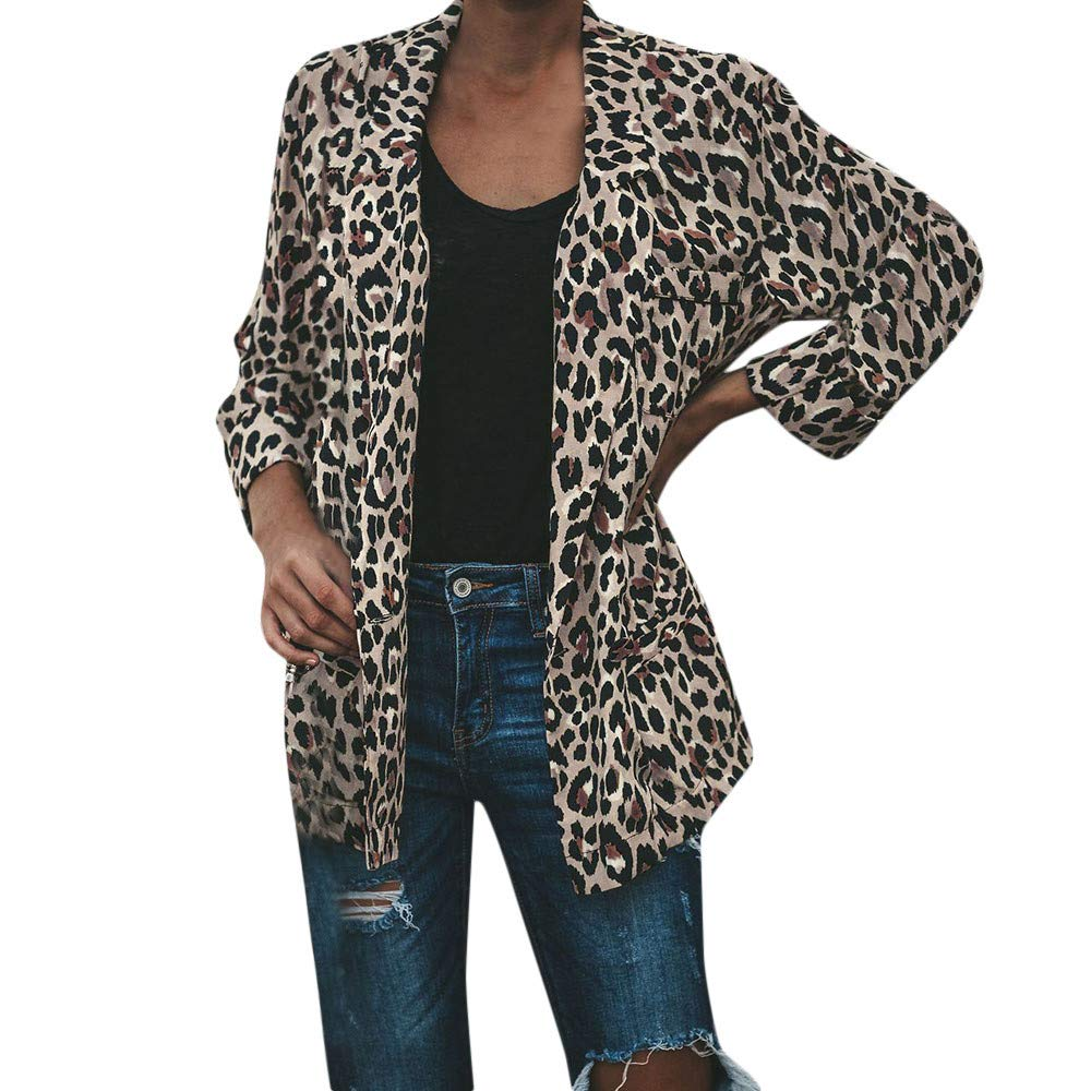 St.Dona Fashion Women Warm Vintage Animal Leopard Print Faux Fur Jacket Outwear
