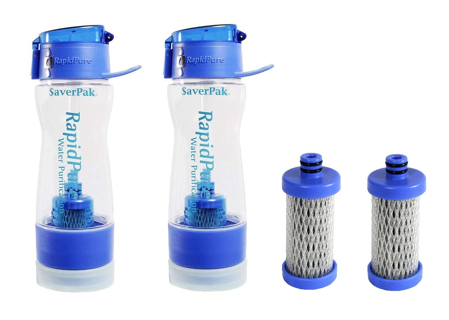 $averPak RapidPure Water Filter and Purifier (Bottle 2 Pack & 2 Spare Filters)