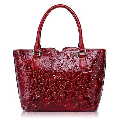 aad1acde3 Amazon.com: APHISON Embossed Floral Purse Designer Satchel Leather Handbags  for Women Shoulder Bags: Shoes