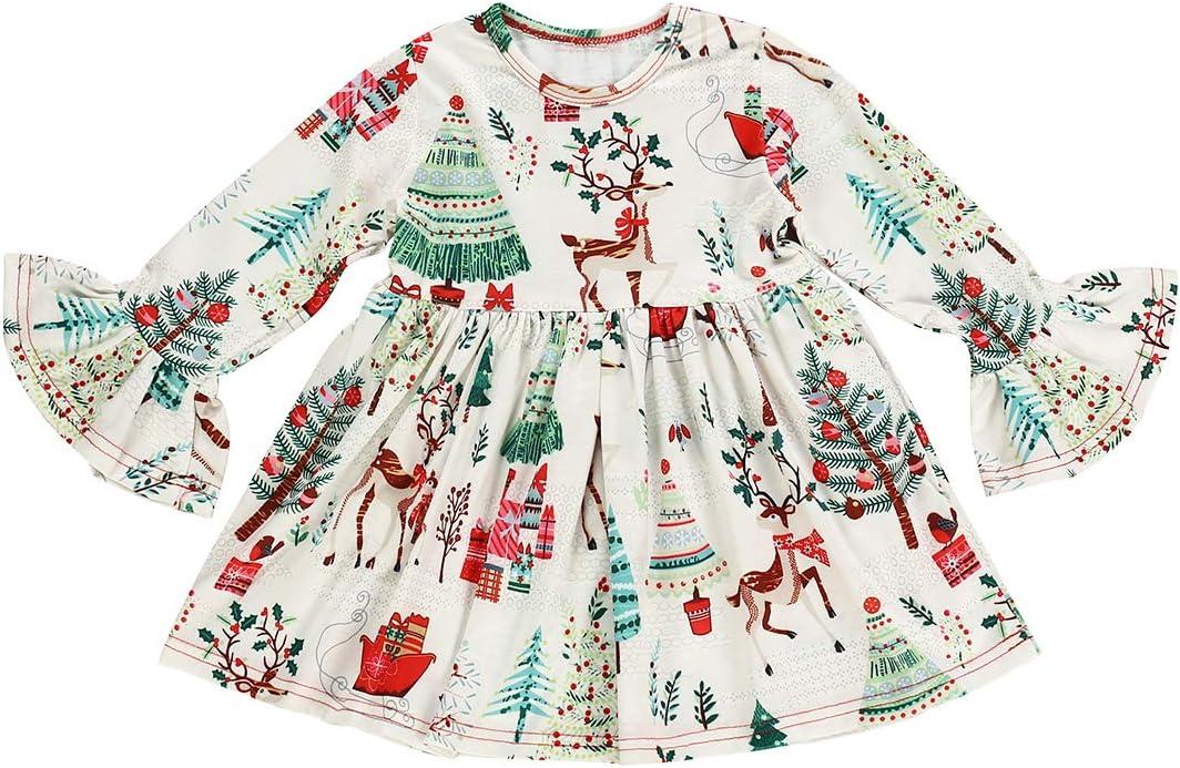 فستان عيد الميلاد للأطفال البنات الصغار الرضع الرضع الرضع الكشكشة أكمام طويلة مجموعة تنورة للبنات الصغار (فستان عيد الميلاد البنات، 3-4 سنوات)