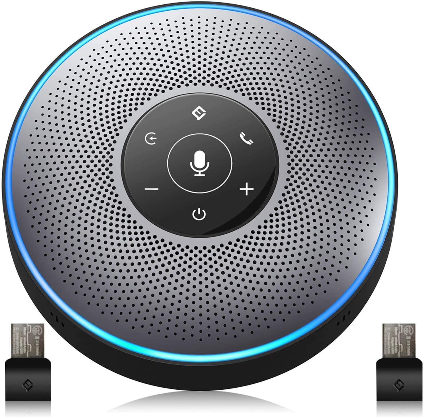Bluetooth Speakerphone - M2 Gray Conference Speaker w/ 2 Dongles, Idea for Home Office 360º Voice Pickup 4 AI Echo & Noise Canceling Microphones, Skype USB Speakerphone AUX in/Out for up to 8 People