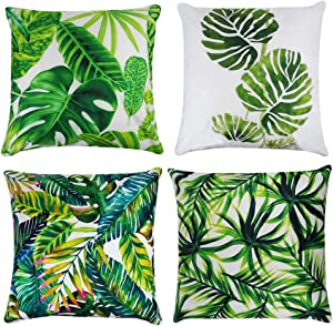 Tropical Leaves Decorations Set of 4 Soft Velvet Decorative Pillow Covers 18 x 18 with Tropical Palm Monstera Leaves Print for Summer Green Decor