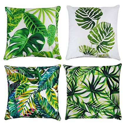 Buy Tropical Leaves Decorations Set Of 4 Soft Velvet Decorative Pillow Covers 18 X 18 With Tropical Palm Monstera Leaves Print For Summer Green Decor Online At Low Prices In India Amazon In