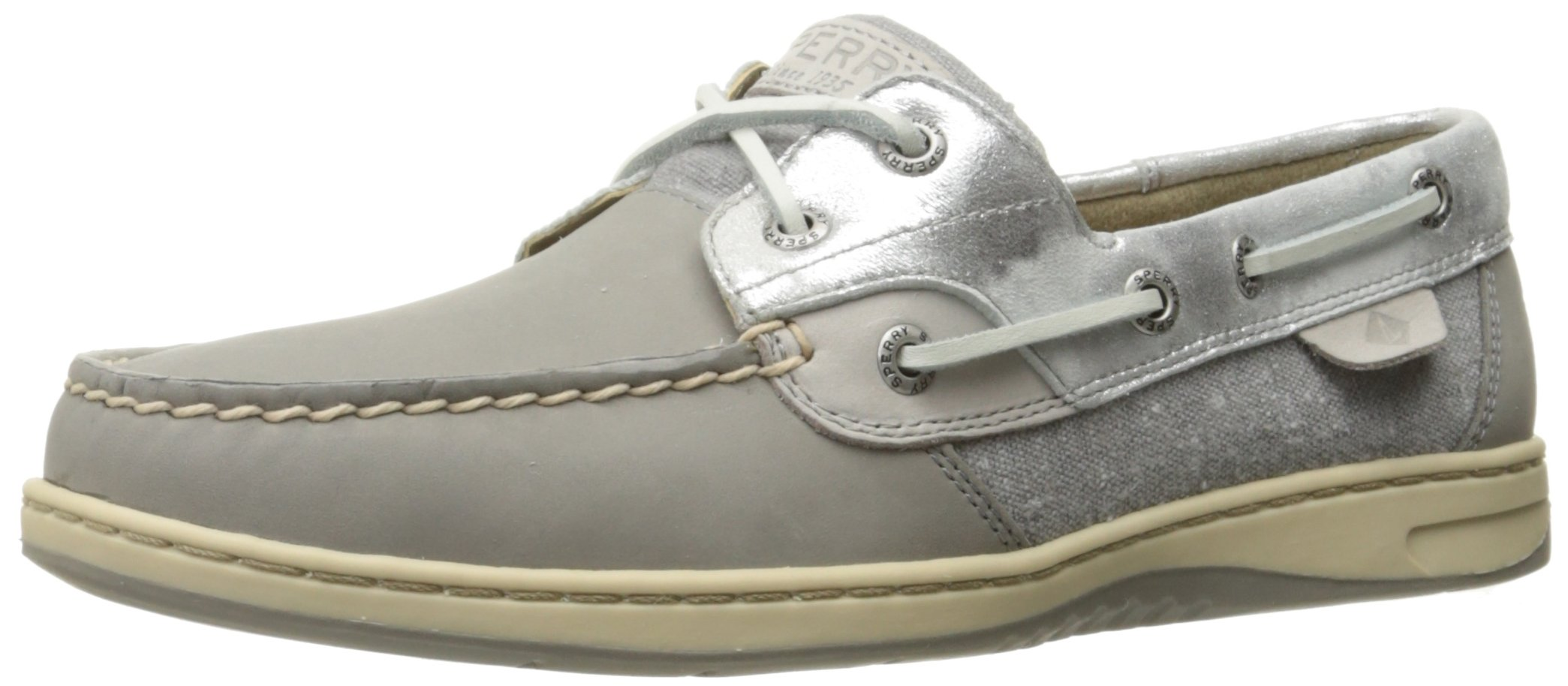 Sperry Top-Sider Women's Bluefish 2-Eye Boat Shoe, Grey/Silver Metallic, 6 M US