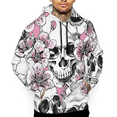 55b64eaf2183 Amazon.com  Skull With Pink Cherry Unisex 3D Printed Pullover Collage Hoodies  Sweatshirts Hooded Sweaters Most Streetwear  Clothing