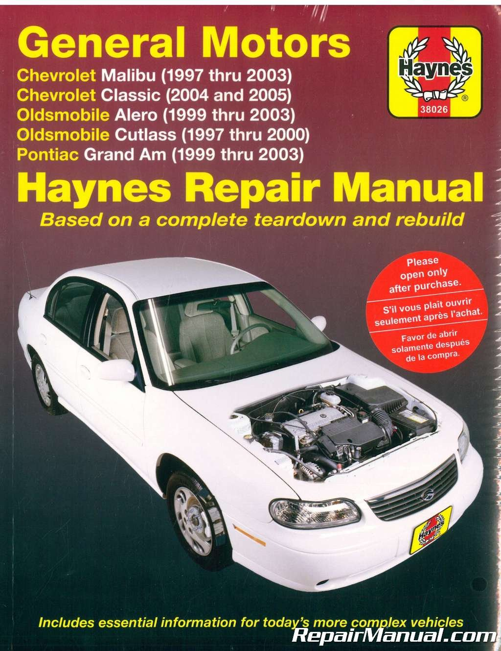 H38026 Haynes GM Chevrolet Malibu Oldsmobile Alero Cutlass and Pontiac  Grand AM 1997-2003 Auto Repair Manual: Manufacturer: Amazon.com: Books