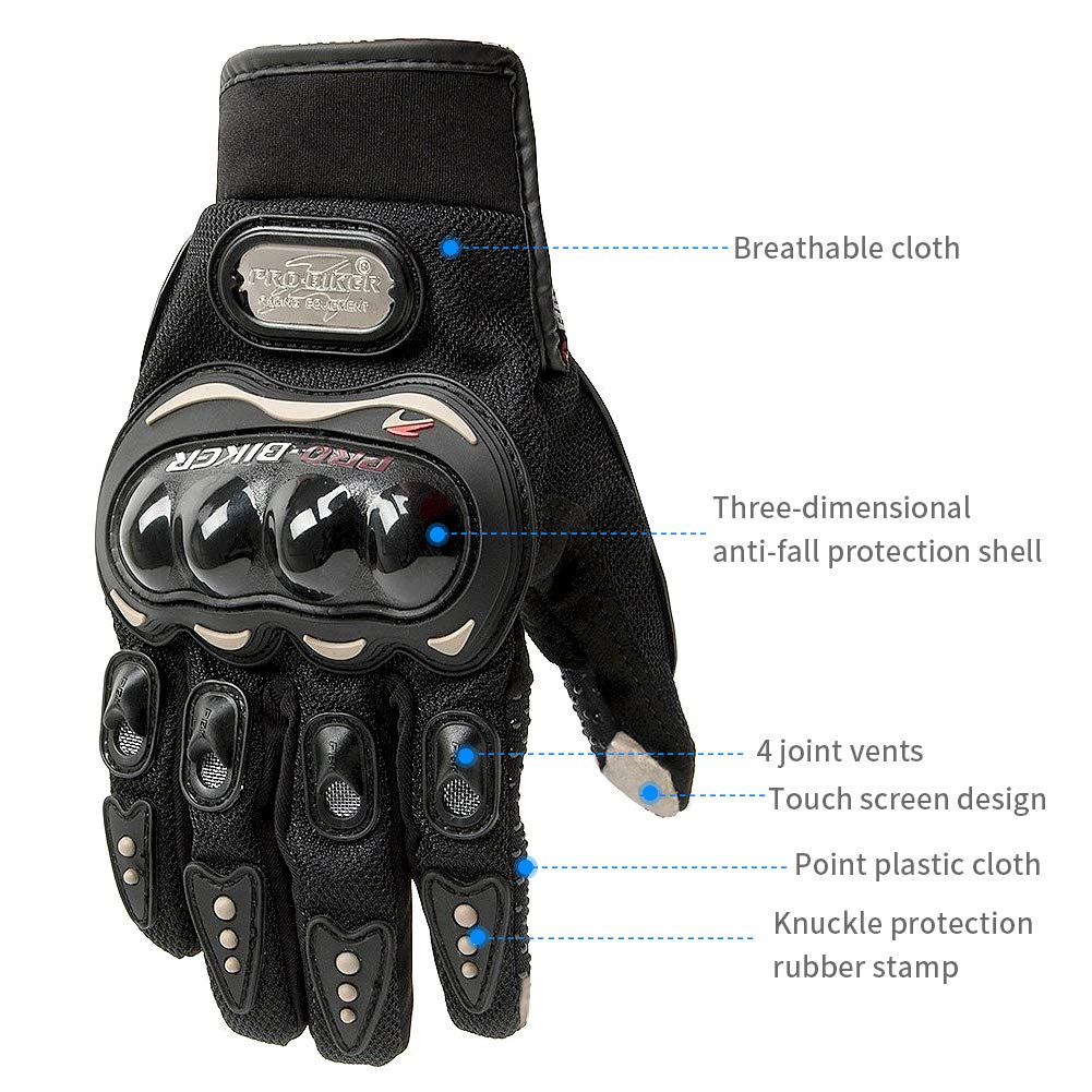DONGLIFENG Motor Gloves,Motorcycle Racing Full Finger Riding Gloves Waterproof Touchscreen Anti-Slip Mens Motorcycle Gloves Knuckle Protector L