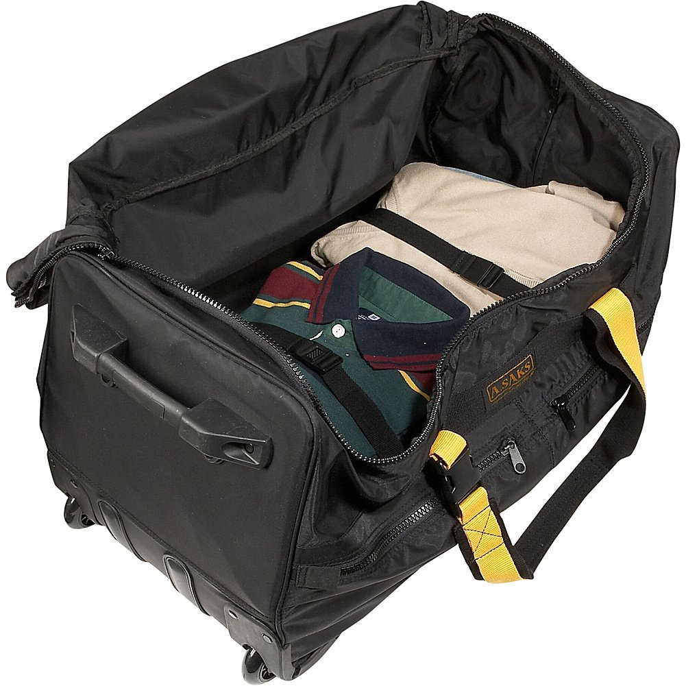Black A Saks 25 Expandable Rolling Trolley Duffel
