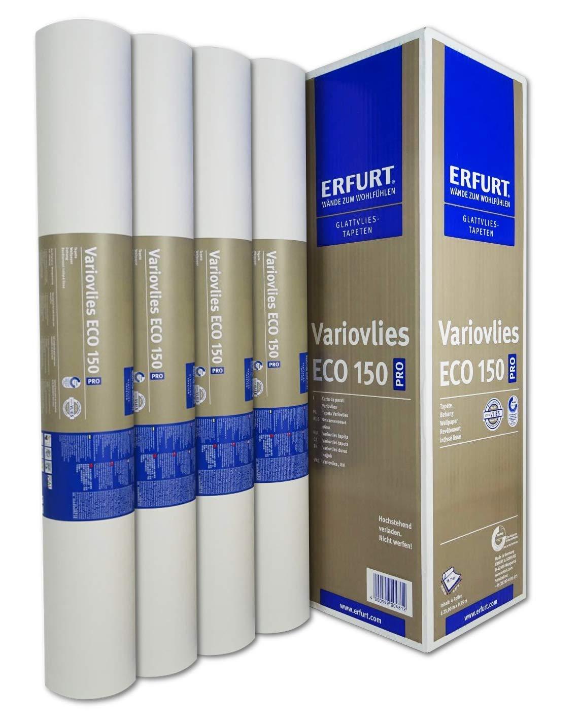 Erfurt Eco-Vlies EV 150g//qm Ecovlies Variovlies Malervlies /überstreichbare Vliestapete 8 Rollen