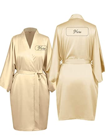Aw Personalized Robe Silk Satin Wedding Bride Bridesmaid Gift Custom Monogrammed