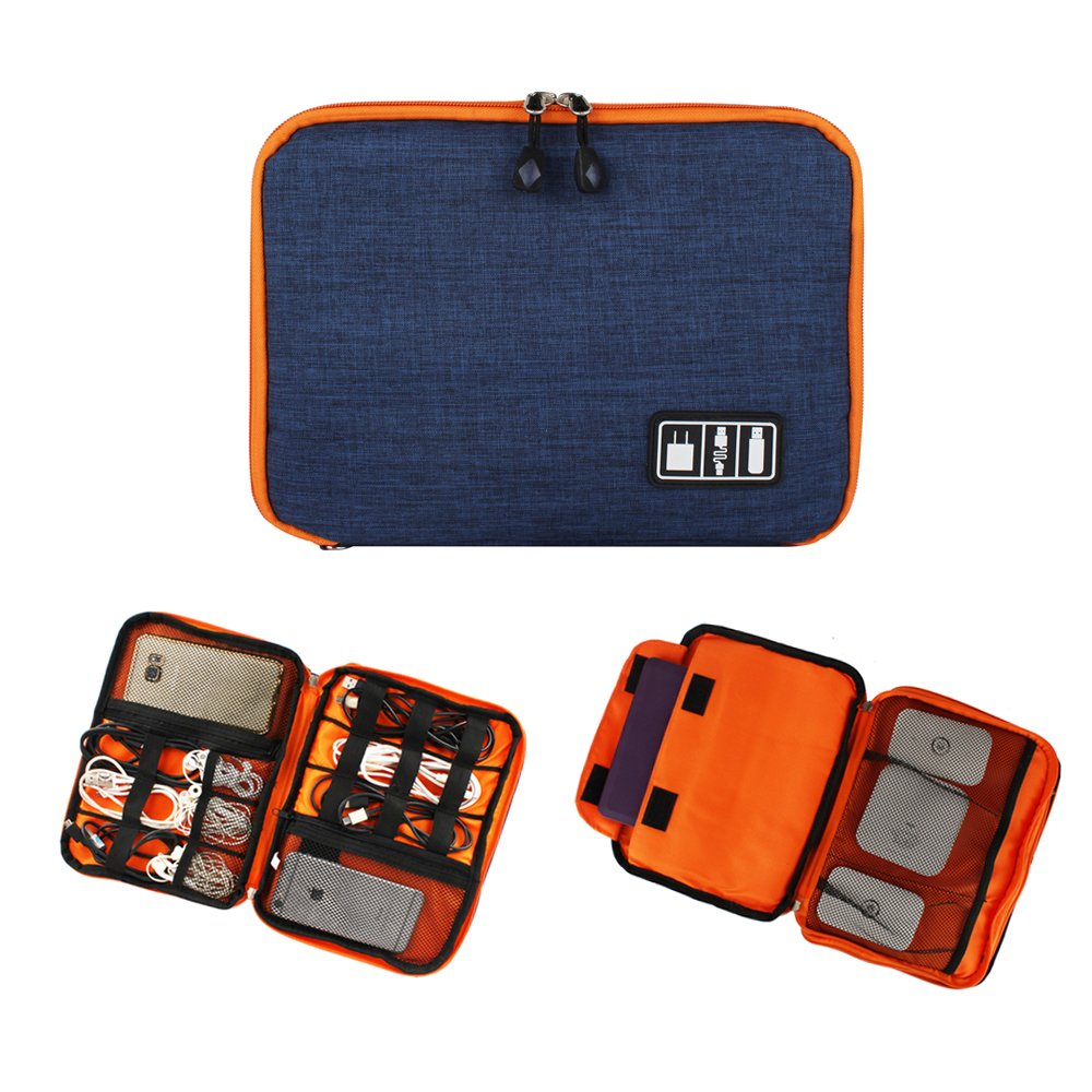 Portable Double Layer Electronic Accessories Organizer Travel Bag for Data Cable, Earphones, IPad Mini, USB, Mobile Phone, Power Bank Large Bag Grey Orange