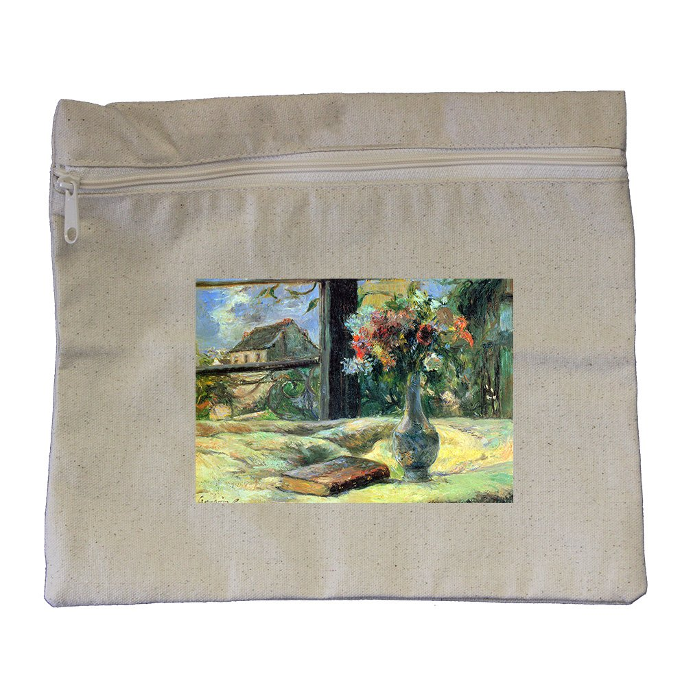 Flower Vase In Window (Gauguin) Canvas Zippered Pouch Makeup Bag
