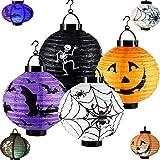 Halloween Paper Lanterns Jack-o'-Lantern Spider Bat Skeleton Lantern with Led Light,for Halloween Party Decor Lanterns…