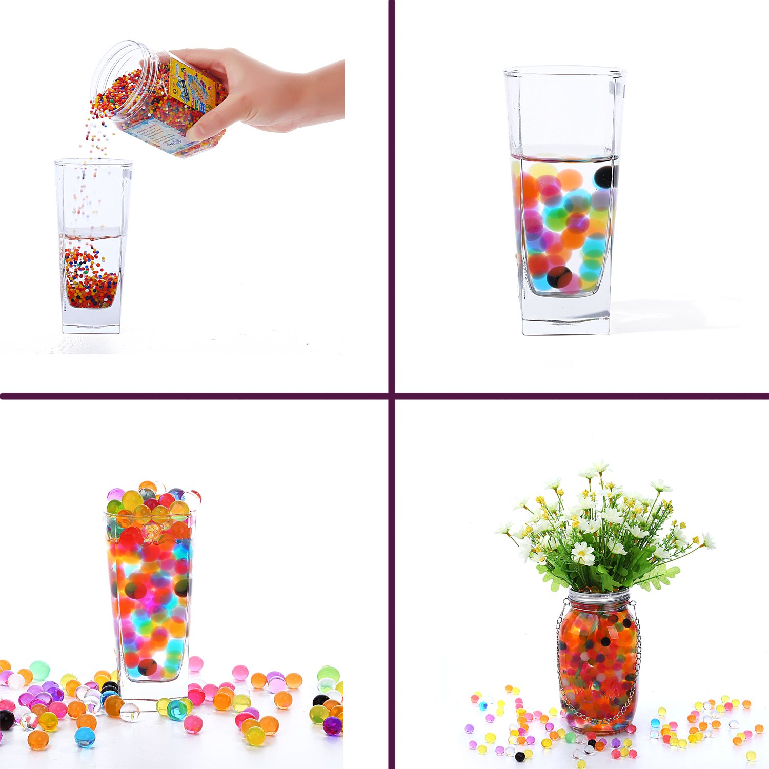 Gaint Water Jelly Pearls Rainbow Mix for Kids Sensory Playing Large Water Gel Beads 11OZ 300pcs Wedding Home Decoration,Plants Vase Filler Sold by Jangostor