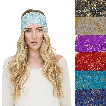 Amazon.com   Ewandastore Women 80s Lace Retro Bohemia Headband Turban Twist  Head Wrap Headband Head Scarf Twisted Knotted Soft Hair Band(Black)   Beauty 927b75e9b5d