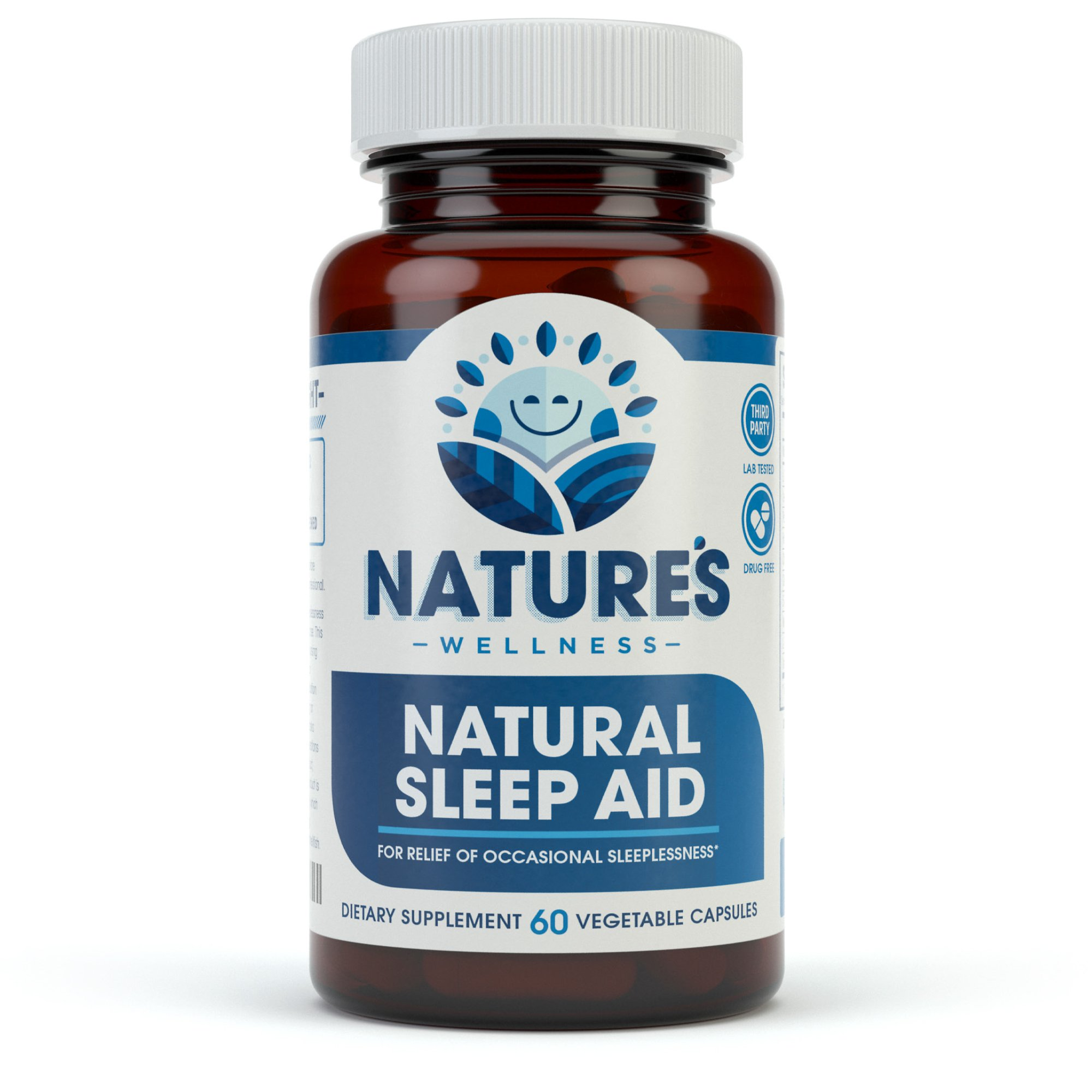 Natural Sleep Aid for Adults by Nature's Wellness, 60-Count | 100% Herbal Remedy Sleeping Pills, Safe & Effective Natural Insomnia Relief Supplement | Non-Habit Forming Blend Allows Deep Sleep & Rest by Natures Wellness (Image #1)