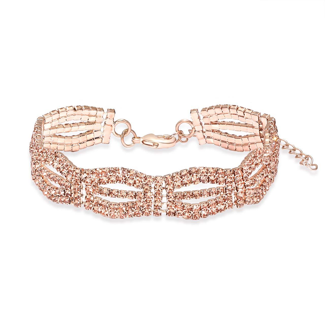 YEYA Adjustable Cubic Zirconia Classic Tennis Bracelet for Women Chain Link Bangle Bracelet Jewelry (Rose Gold) by YEYA