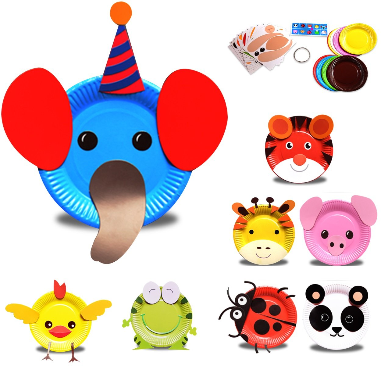 Mini Factory Kids Early Learning Education Play DIY Cute Animal Creative Paper Plates Art Kit 8Pcs
