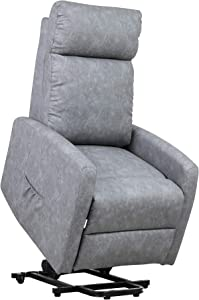 Power Lift Recliners Single Sofa PU Leather Recliner Seat Club Chair Home Theater Seating for Elderly Lazyboy Modern (Gray)