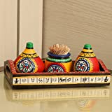 ExclusiveLane Terracotta Warli Matki Kitchen Set Pepper Dispenser Cum Salt & Pepper Shaker with Toothpick Holder (Red)