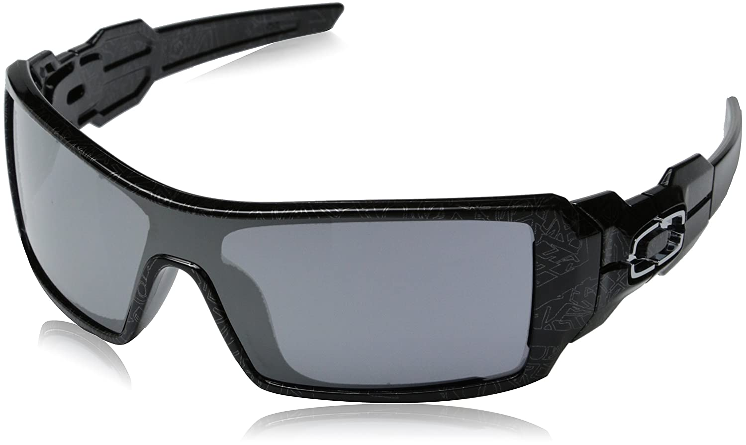 94cefa3570 Amazon.com  Oakley Oil Rig Men s Lifestyle Sports Wear Sunglasses -  Polished Black Silver Ghost Text Black Iridium One Size Fits All  Oakley   Clothing