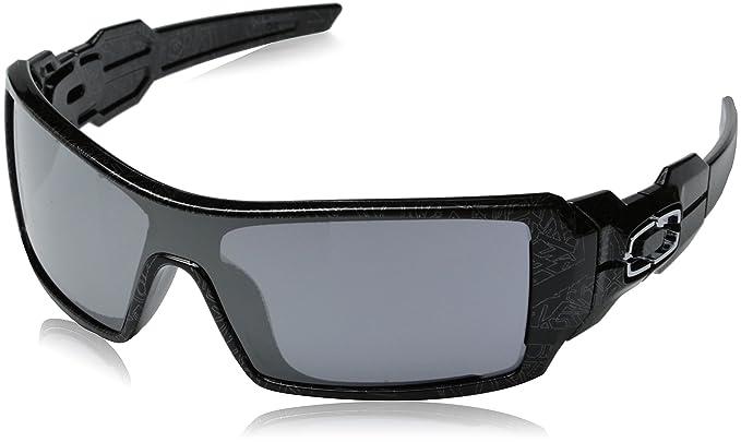 ebfc205ccf Oakley Men's Oil Rig Polished Sunglasses,Polished Polished Black/Silver  Ghost Text/Black