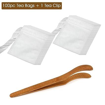 almondcy 100 piezas desechables sello cordón filtro vacío de papel bolsas de té + 1pc té Clip (9 * 10), 7*9CM
