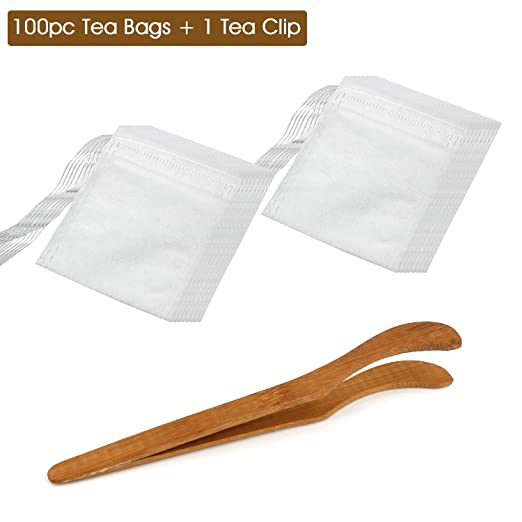 2 opinioni per Almondcy 100pcs monouso coulisse Seal filtro vuoto di carta bustine di tè + 1PC