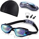 bcf80f0a95 Swim Goggles and Cap Set SKL Swimming Goggles No Leaking Anti Fog UV  Protection Triathlon Swim