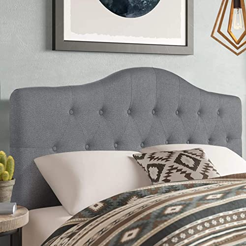 Adeco Classic Camelback Button Tufted Upholstered Headboard