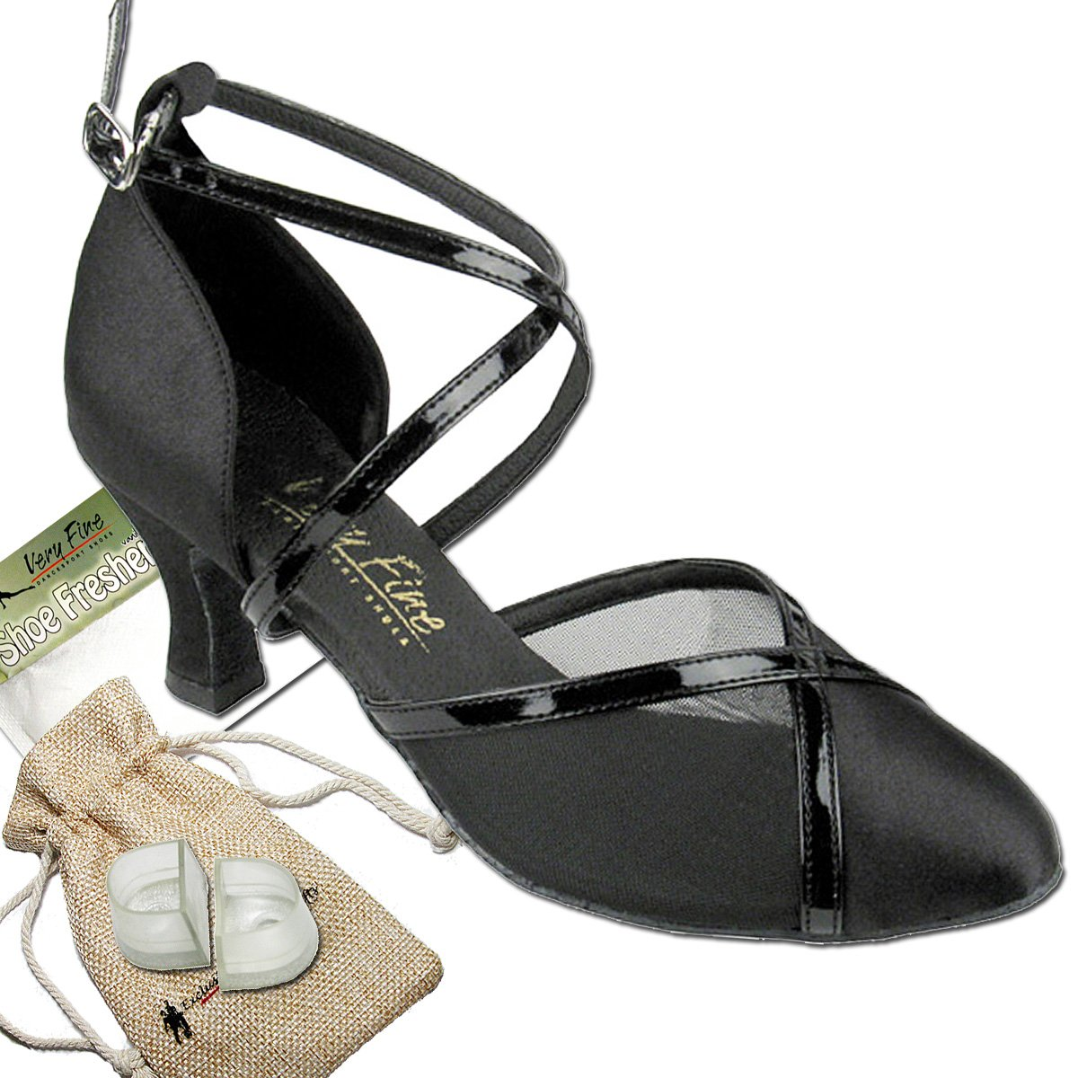 Women's Ballroom Dance Shoes Tango Wedding Salsa Dance Shoes Black Satin & Black Mesh 9622EB Comfortable - Very Fine 2.5'' Heel 7.5 M US [Bundle of 5] by Very Fine Dance Shoes (Image #1)