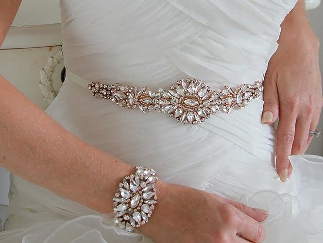 Antigua Rose Gold Bridal Wedding Dress Sash