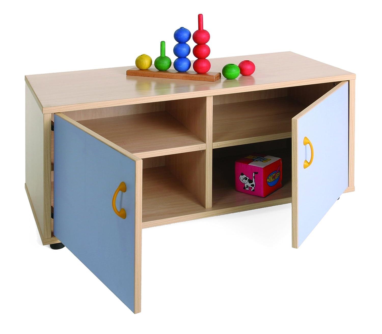Mobeduc 600104HPS14 - Mueble Infantil superbajo/Armario con 4 Casillas, Madera, Color Haya y Azul Lavanda, 90 x 40 x 44 cm