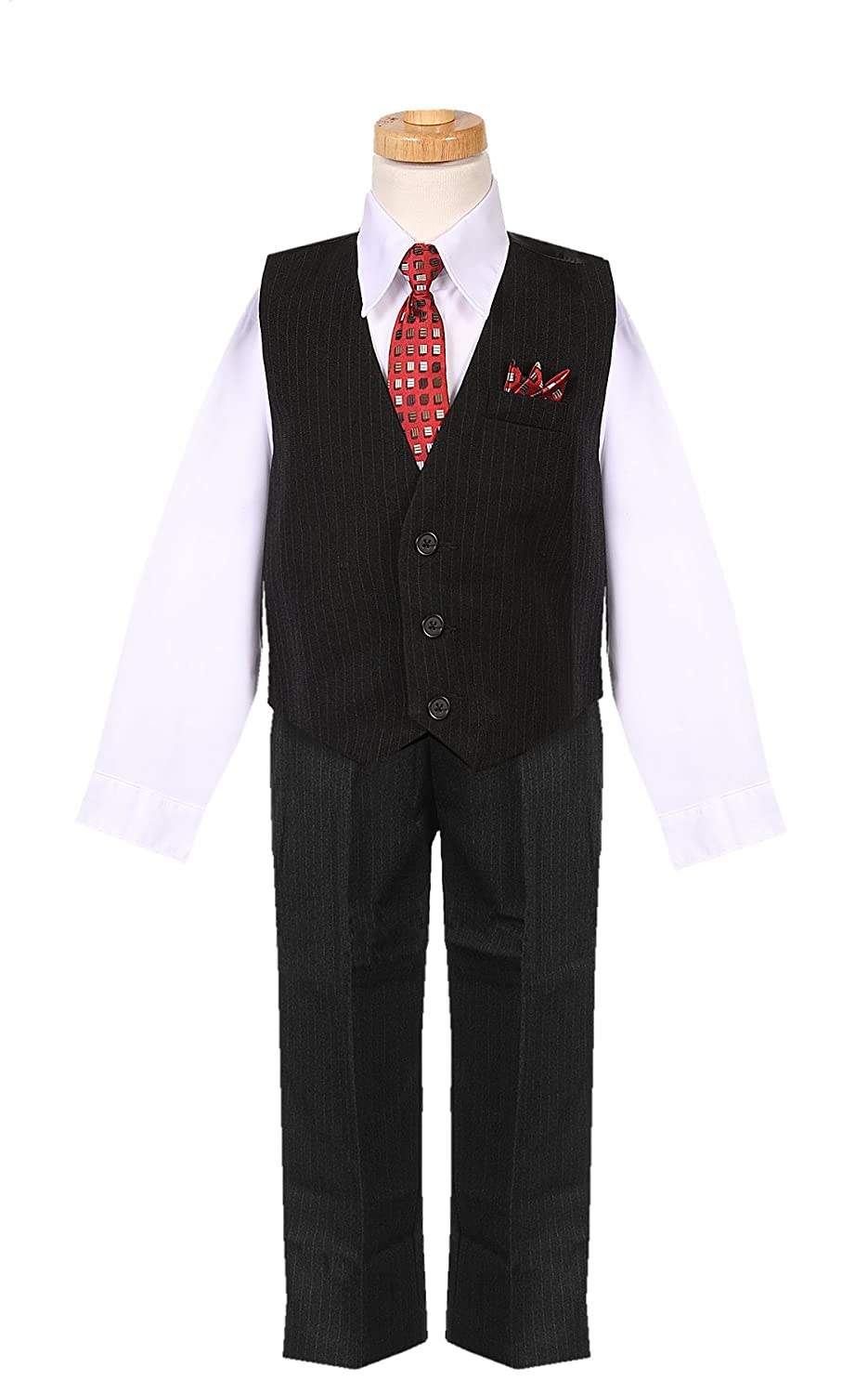 Amazon Boys White Pinstripe Vest Set With Matching Red Tie And
