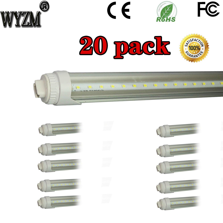 WYZM 20-Pack 40W 8ft LED Tube (R17d) Base T12 LED Tube Light,Replacement for F96T12/CW/HO - 110 Watt Fluorescent Tube 110~277V AC (20-Pack Cool White)