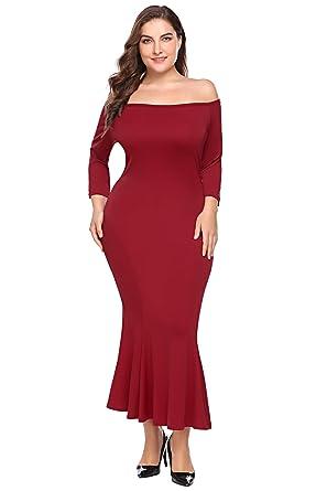 a7db75728226d Zeagoo Womens Plus Size Off Shoulder Fishtail Gown Cocktail Party Dress